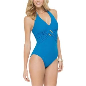 Spanx Blue Belted Beauty Halter One-Pice Swimsuit